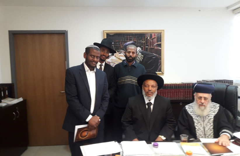 Rabbi Yosef, Rabbi Wobst and additional rabbis of the Ethiopian community, 2018. (photo credit: MINISTRY OF RELIGIOUS SERVICES)