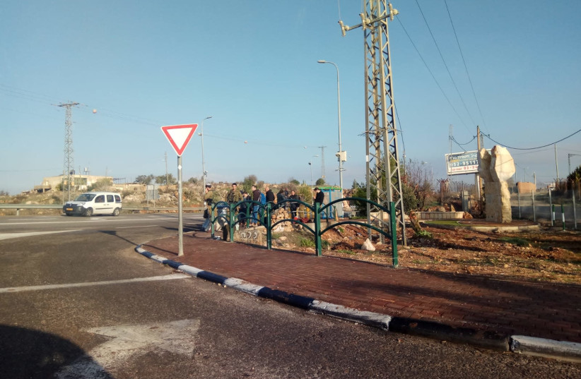 The intersection outside of Ofra, the morning after a terrorist attack left seven injured, December 10th, 2018 (photo credit: TPS)