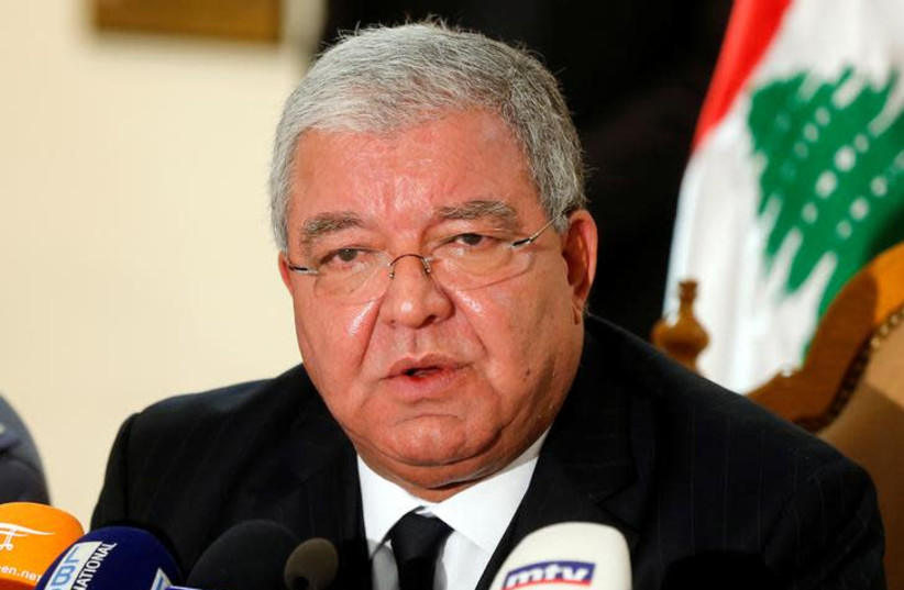Lebanon's Interior Minister Nohad Machnouk talks during a news conference in Beirut, Lebanon, January 19, 2018. (photo credit: REUTERS/MOHAMED AZAKIR)