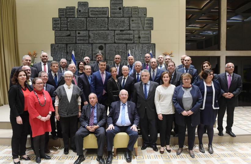 President Rivlin meeting Israeli heads of diplomatic missions in Europe, 10 December 2018. (photo credit: AMOS BEN GERSHOM, GPO)