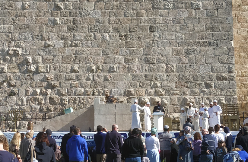 A new altar fit for the Temple was dedicated outside the walls of the Old City of Jerusalem, December 10, 2018 (photo credit: THE TEMPLE IN ZION)