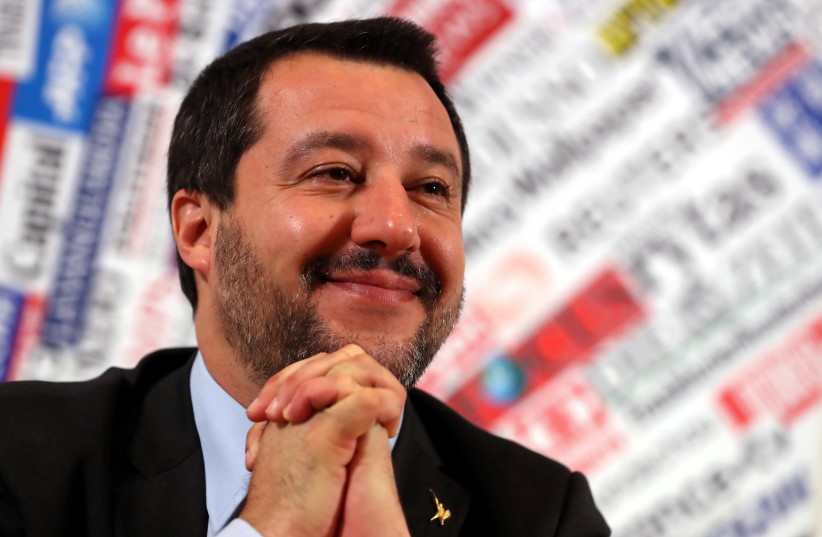 Italian Deputy Prime Minister and right-wing League party leader Matteo Salvini attends a news conference at the Foreign Press Club in Rome, Italy December 10, 2018.  (photo credit: REUTERS/TONY GENTILE)
