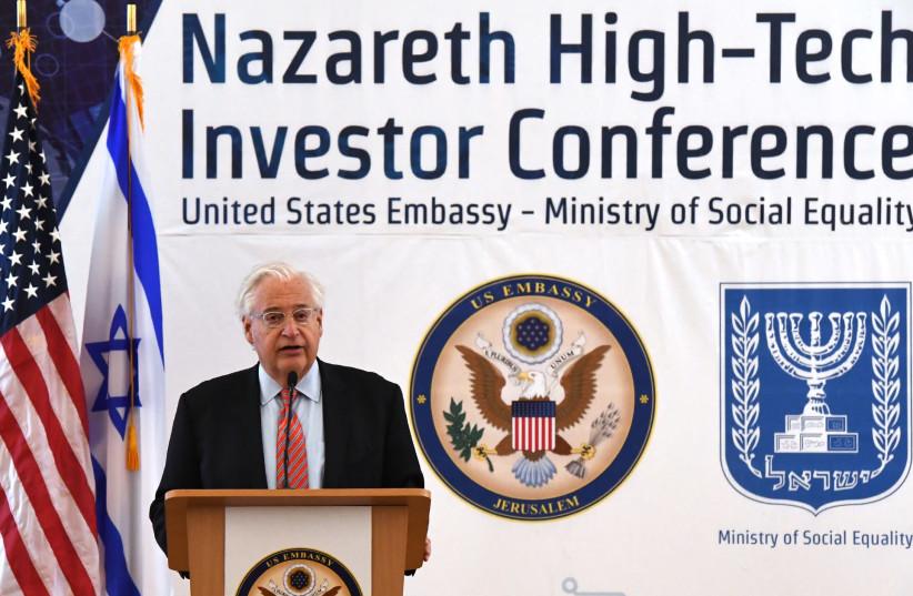 US Ambassador to Israel David Friedman speaks at the inaugural Nazareth Hi-Tech Investor Conference, December 11, 2018 (photo credit: MATTY STERN/US EMBASSY JERUSALEM)