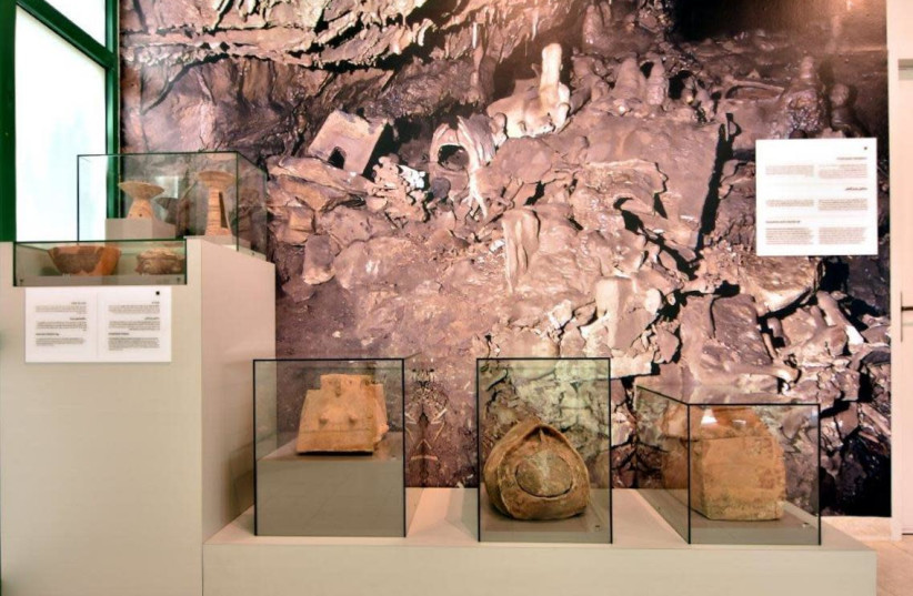 Part of the treasure from the cave on display. (photo credit: DR. ORIT SHAMIR ANTIQUITIES AUTHORITY/OHAD NIR ANA)
