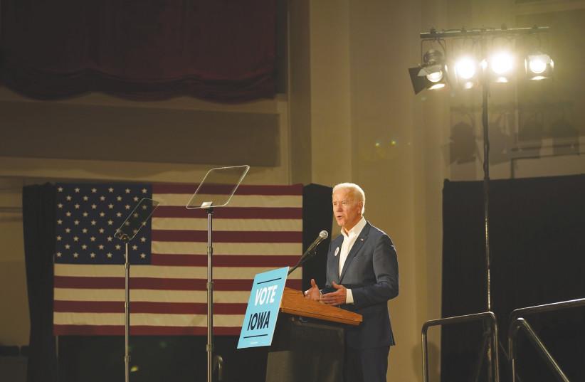 FORMER US vice-president Joe Biden speaks in Iowa in October. (photo credit: REUTERS)