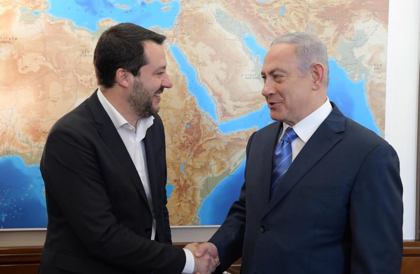 Prime Minister Benjamin Netanyahu meets with Italian Deputy Premier and Interior Minister Matteo Salvini, December 12, 2018 (photo credit: AMOS BEN-GERSHOM/GPO)