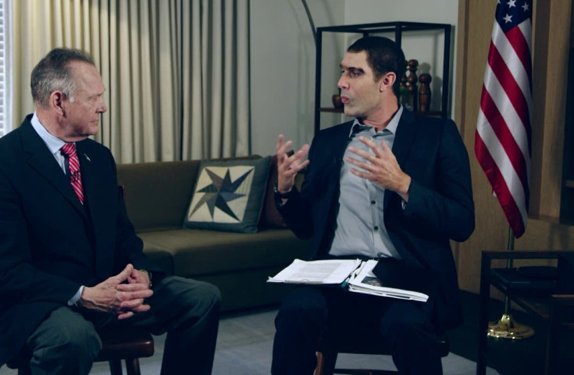 SACHA BARON COHEN and Roy Moore on 'Who Is America?'  (photo credit: SHOWTIME)