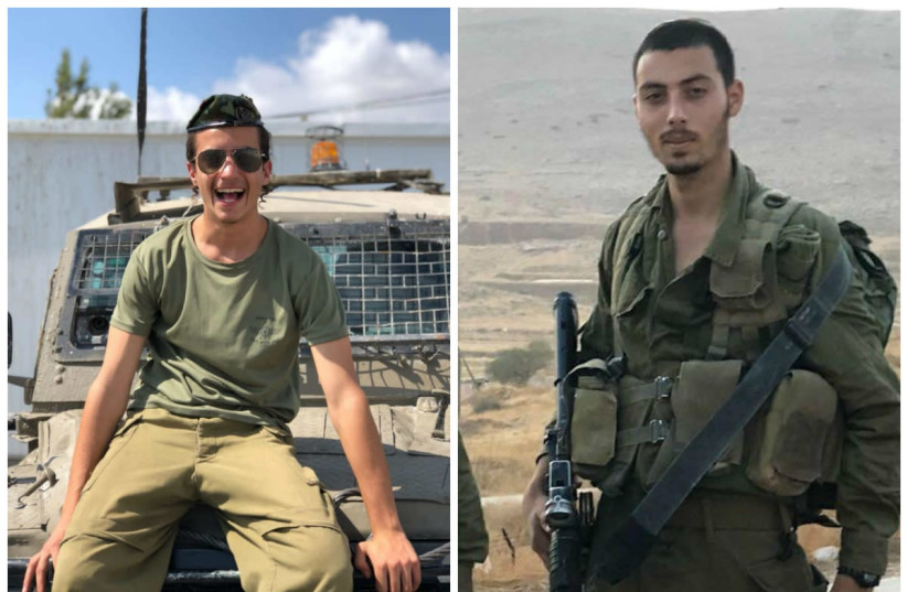 Corporal Yosef Cohen (L) and Sergeant Yuval Mor Yosef (R), identified by the IDF as the soldiers killed in a shooting attack on December 13th, 2018 (photo credit: IDF SPOKESPERSON'S UNIT)