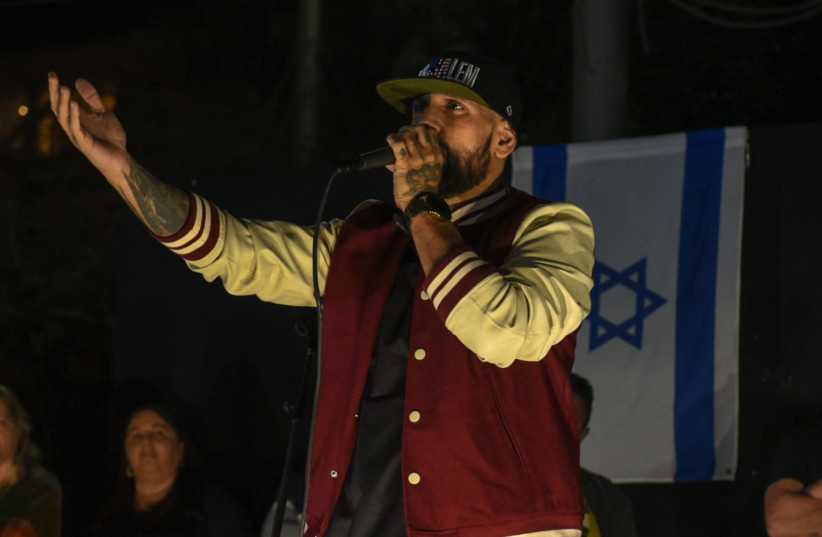 """Rapper Yossi """"The Shadow"""" Eliassi, who in recent years has been known to organize counter-demonstrations to left-wing rallies. (photo credit: KOBI RICHTER/TPS)"""