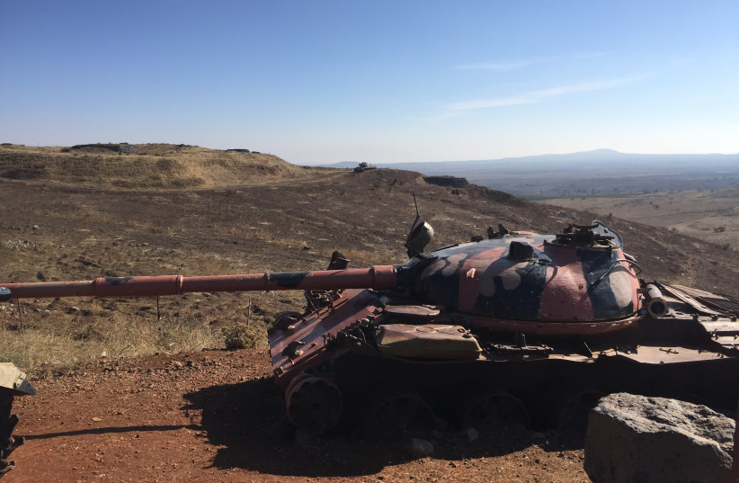 A Syrian tank from the 1973 war on the Golan Heights. (photo credit: SETH J. FRANTZMAN)