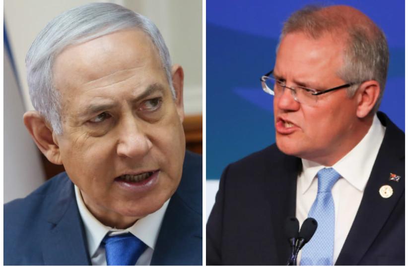 Prime Minister Benjamin Netanyahu (L) and Australian Prime Minister Scott Morrison (R) (photo credit: MARC ISRAEL SELLEM/REUTERS)