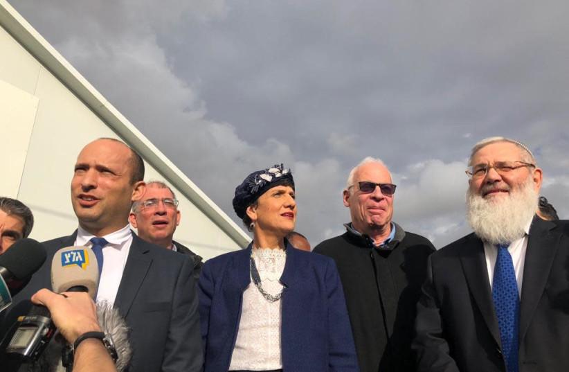 Education Minister Naftali Bennett and members of the Bayit Hayehudi on December 17, 2018 (photo credit: TOVAH LAZAROFF)