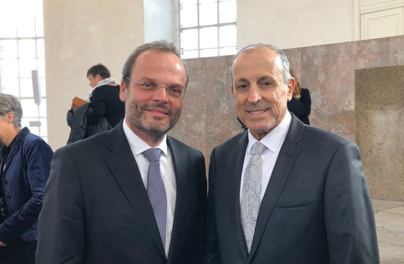 Vic Alhadeff (right) with Dr Felix Klein, appointed by the German Government to devise a strategy to combat antisemitism (photo credit: VIC ALHADEFF)