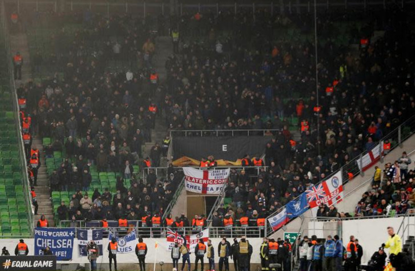 Chelsea fans at a game between Vidi FC and Chelsea, December 13, 2018 (photo credit: REUTERS/MATTHEW CHILDS)