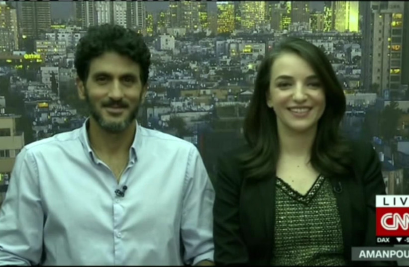 Lucy Aharish and Tzhai Halevy talk interfaith love on CNN. (photo credit: CNN SCREENSHOT)