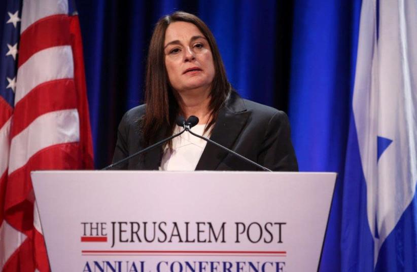 Rona Ramon speaks at The Jerusalem Post conference (photo credit: MARC ISRAEL SELLEM/THE JERUSALEM POST)
