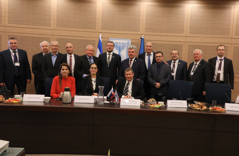 Members of the Russian defense delegation visit the Knesset on December 19. (photo credit: ISAAC HARARI / KNESSET SPOKESPERSON'S OFFICE)