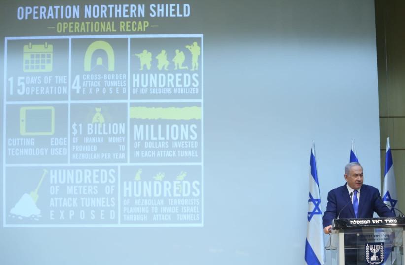 Prime Minister Benjamin Netanyahu speaks ahead of UNSC on Hezbollah (photo credit: MARC ISRAEL SELLEM/THE JERUSALEM POST)