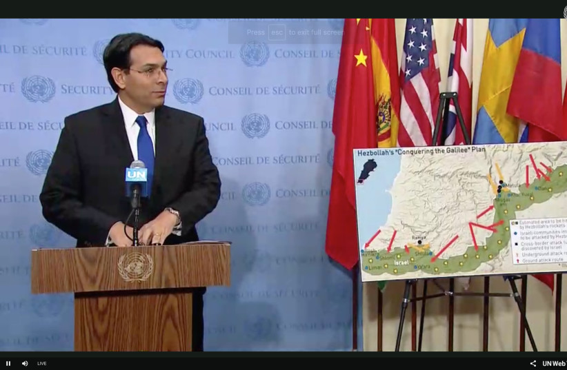 Danny Danon with a map of Hezbollah tunnels in front of the UN Security Council, December 19th, 2018 (photo credit: screenshot)