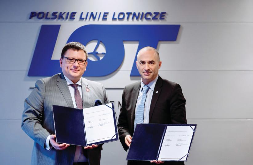 EL AL'S Gonen Usishkin (right) and LOT's Rafal Milczarski. (photo credit: MARTA KUSMIERZ)