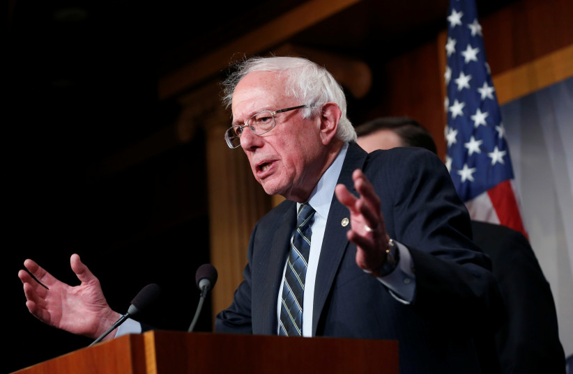 Senator Bernie Sanders (I-VT) speaks after the senate voted on a resolution ending U.S. military support for the war in Yemen on Capitol Hill in Washington, U.S., December 13, 2018. (photo credit: REUTERS/JOSHUA ROBERTS)