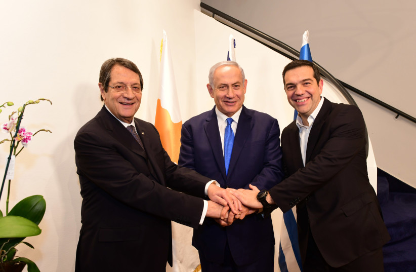 Israel PM Binyamin Netanyahu,Cypriot President Nicos Anastasiades and Greek Prime Minister Alexis Tsipras at Israel-Greece-Cyprus summit on December 20, 2018 (photo credit: PMO)
