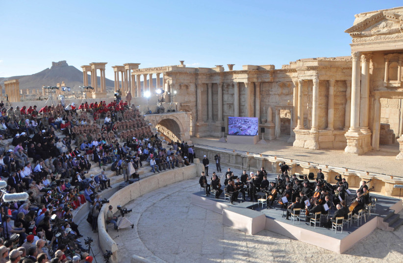 Russia's Mariinsky Theatre performs at the amphitheatre of the Syrian city of Palmyra, Syria in this handout picture provided by SANA on May 5, 2016 (photo credit: SANA/HANDOUT VIA REUTERS)