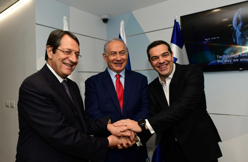 Trilateral meeting with Israel, Greece and Cyprus, the Cyber Center in Beer Sheva, 2018. (photo credit: KOBI GIDEON/GPO)