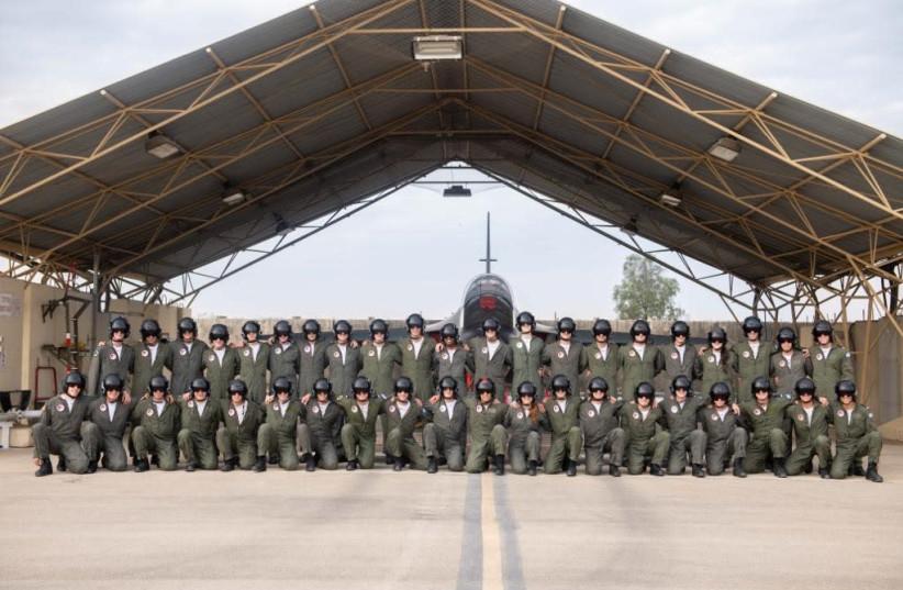 The IDf's first Ethiopian pilot pictured with his unit (photo credit: IDF SPOKESPERSON'S UNIT)