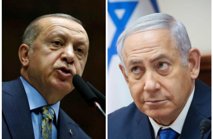 Turkish President Recep Tayyip Erdogan and Prime Minister Benjamin Netanyahu (photo credit: TUMAY BERKIN/REUTERS AND MARC ISRAEL SELLEM/THE JERUSALEM POST)