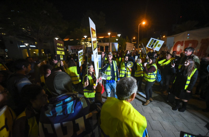 """Yellow vest"" protests in Tel Aviv.  (photo credit: KOBI RICHTER/TPS)"