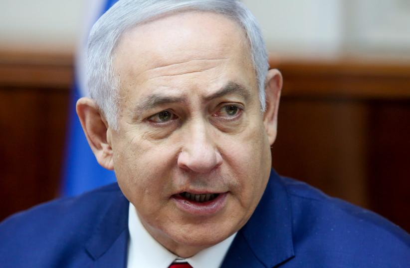Prime Minister Benjamin Netanyahu at a weekly cabinet meeting, December 23rd, 2018 (photo credit: MARC ISRAEL SELLEM/THE JERUSALEM POST)