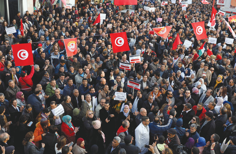 Protests in Tunisia  (photo credit: REUTERS)