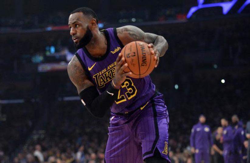 Los Angeles Lakers forward LeBron James (photo credit: GARY A. VASQUEZ-USA TODAY SPORTS VIA REUTERS)
