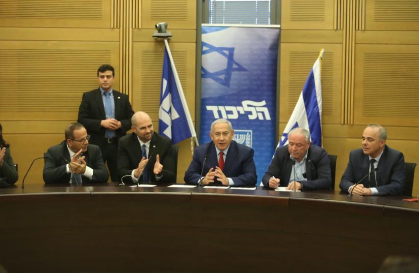Prime Minister Benjamin Netanyahu at a coalition meeting (photo credit: MARC ISRAEL SELLEM)