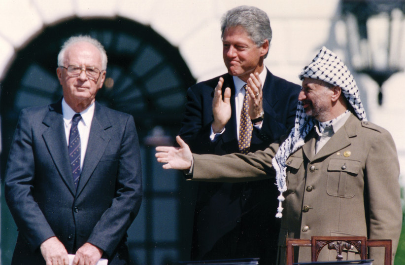 """'THEIR LEGACY, however, is not only a """"peace process"""" that failed, the Oslo Accords, but a policy which enabled and encouraged enemies dedicated to Israel's destruction.' (credit: REUTERS)"""