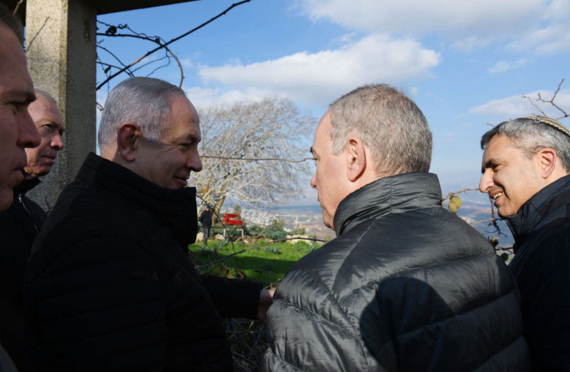 Prime Minister Benjamin Netanyahu visits northern border to view results of Operation Northern Shield (photo credit: ARIEL HERMONI / DEFENSE MINISTRY)
