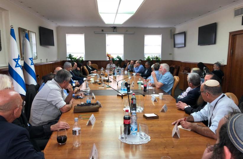 Prime Minister Benjamin Netanyahu meeting settler leaders, December 26, 2018 (photo credit: Courtesy)