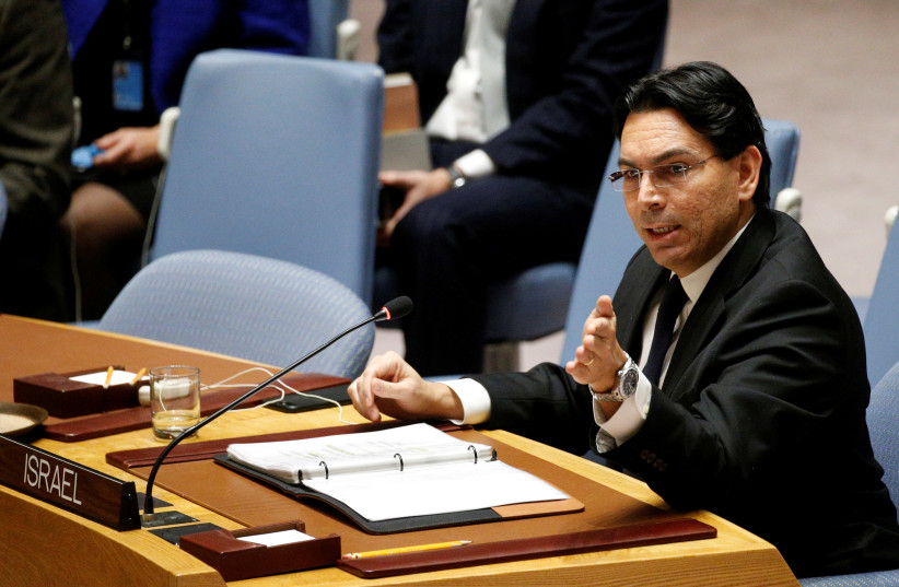 Israel's Ambassador to the United Nations Danny Danon speaks during the United Nations Security Council meeting on the situation in the Middle East, including Palestine, at U.N. Headquarters in New York City, New York, U.S., December 18, 2017 (photo credit: REUTERS/BRENDAN MCDERMID)
