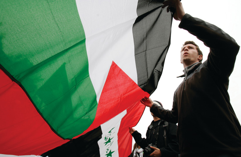 DEMONSTRATORS CARRY a Palestinian flag in California. (photo credit: REUTERS)