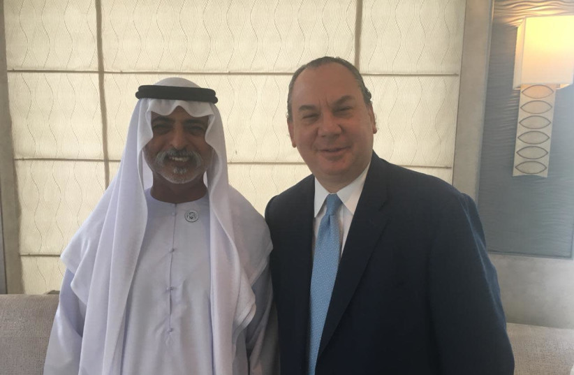 Rabbi Marc Schneier with United Arab Emirate's Minister of Tolerance, Sheikh Nahyan bin Mubarak. Schneier said Gulf States have asked him to help create a relationship with Evangelical Christians in the US. (photo credit: COURTESY OF THE FOUNDATION FOR ETHNIC UNDERSTANDING.)
