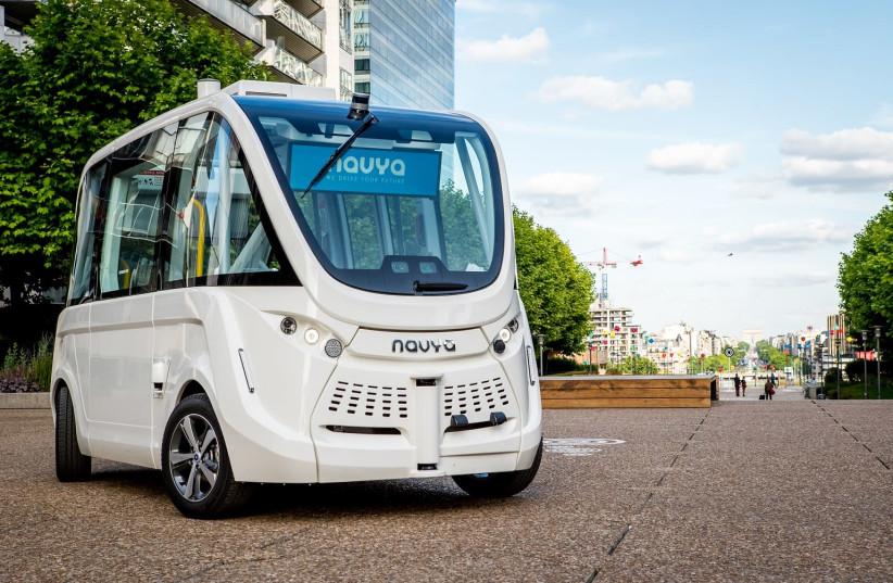 Navya's Autonom Shuttle which will transport students around Bar-Ilan University from April 2019. (photo credit: NAVYA)