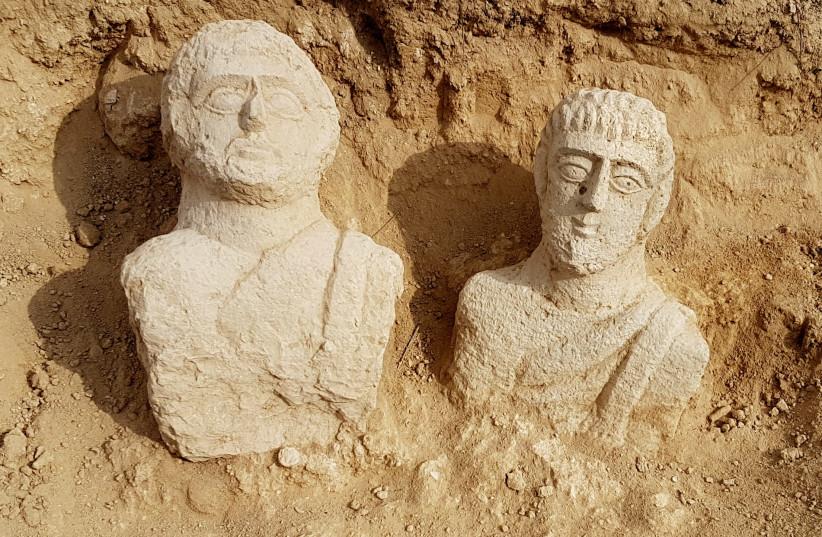 Roman-era statues discovered near burial site in Beit Shean (photo credit: EYTAN KLEIN/IAA)