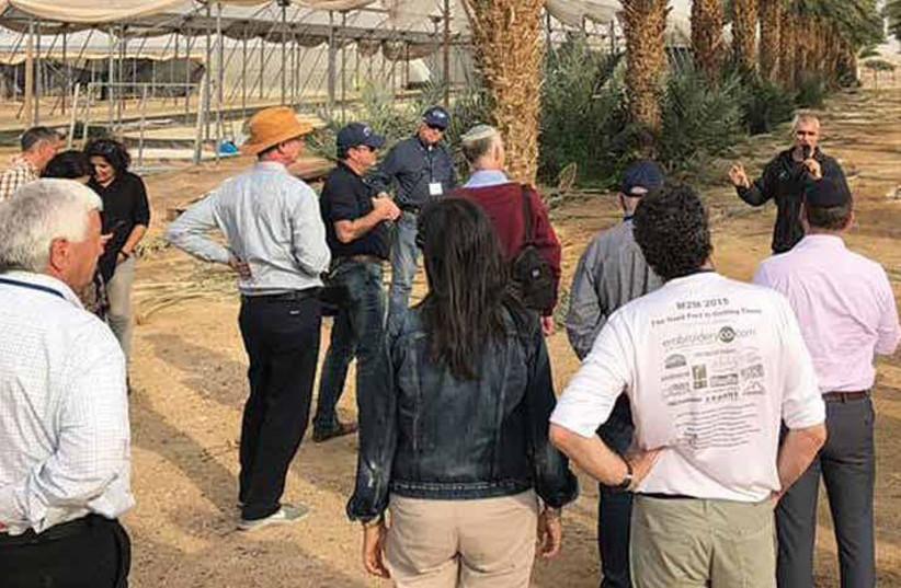 Dr. Effi Tripler, of the Arava research and development facility, addresses H20 Tour participants (photo credit: JNF)