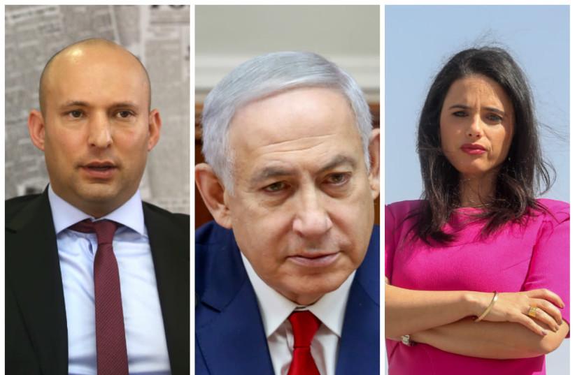 Prime Minister Benjamin Netanyahu (C) flanked by Naftali Bennett (L) and Ayelet Shaked (R) (photo credit: MARC ISRAEL SELLEM/THE JERUSALEM POST)