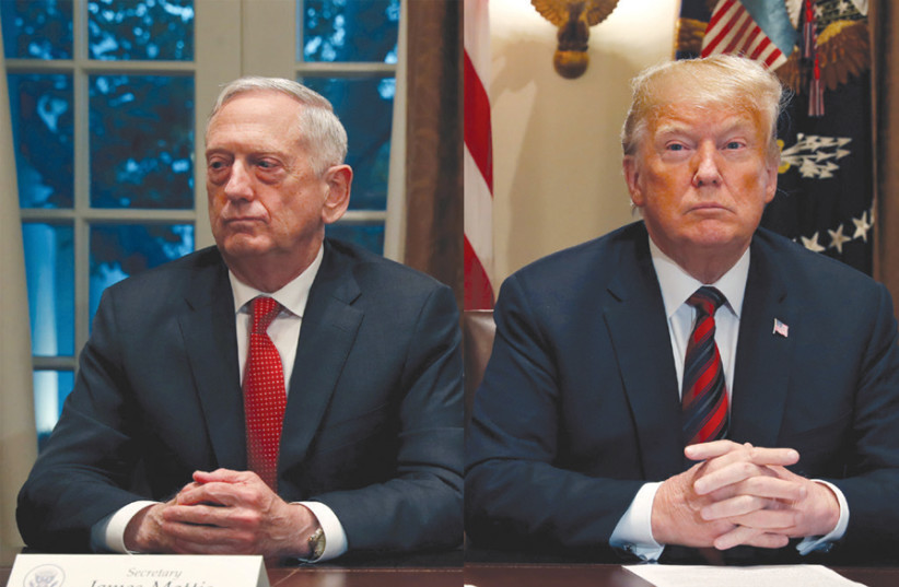 A difference of opinion: US President Donald Trump and Secretary of Defense James Mattis, who resigned over Trump's decision to withdraw US troops from Syria (photo credit: REUTERS)