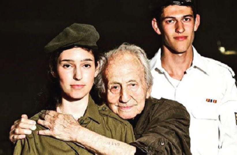 Noah Klieger with his two grandchildren serving in the IDF (photo credit: Courtesy)