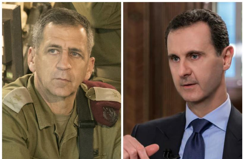Aviv Kochavi (L) and Bashar Assad (R) (photo credit: WIKIMEDIA COMMONS & SANA/HANDOUT VIA REUTERS)