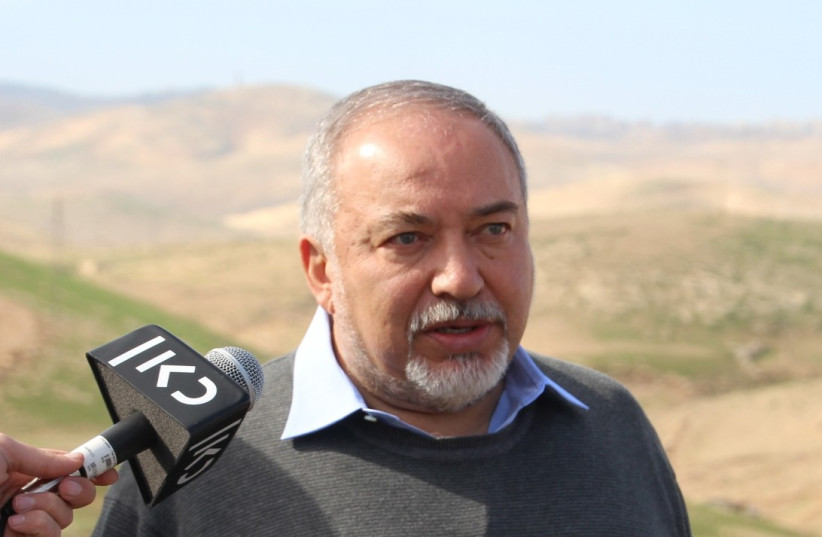 Yisrael Beiteinu leader Avigdor Lieberman at a hilltop overlooking Khan al-Ahmar.  (photo credit: Courtesy)