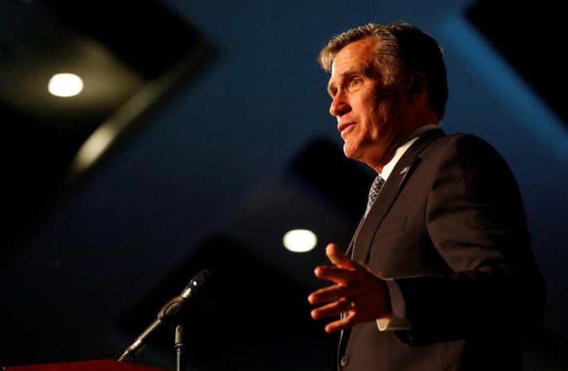 Former U.S. presidential candidate Mitt Romney speaks at the Utah County Republican Party Lincoln Day Dinner, in Provo, Utah, U.S. February 16, 2018. (photo credit: REUTERS/JIM URQUHART)